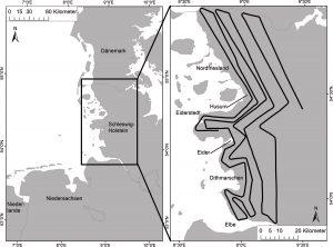 Lage des Untersuchungsgebietes an der schleswig-holsteinischen Nordseeküste