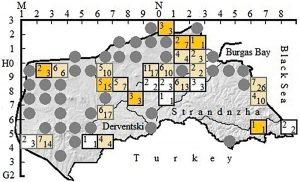 Brutgebiete des Zwergtauchers in Südost-Bulgarien.